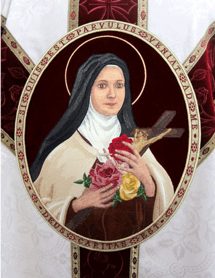 St. Therese embroidered vestment applique