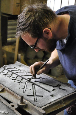 Bancel crucifixes have always been made using a sand casting technique