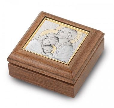 Walnut Holy Family Rosary Box