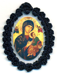 Our Mother of Perpetual Help relic badge