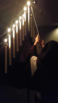 Lighting candles before Tenebrae